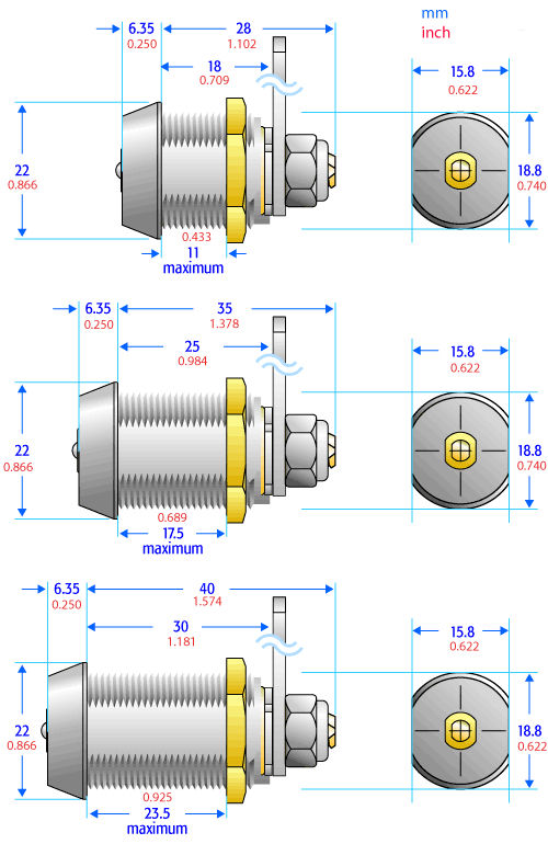 Nockenschloss / mit Schlüssel / Messing - 2D series - Camlock ...