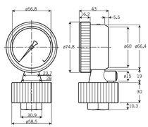 Membrandruckmittler mit Gewindeanschluss / für Manometer