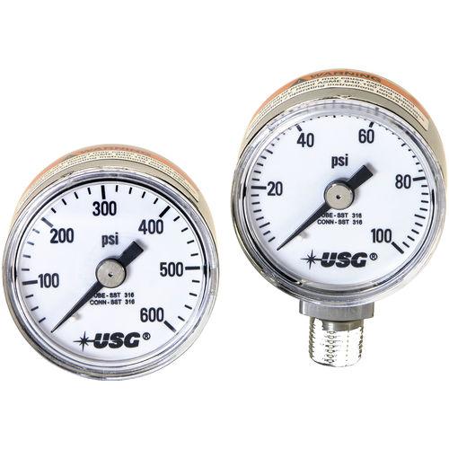 analoges Manometer / Rohrfeder / für Gas / Edelstahl