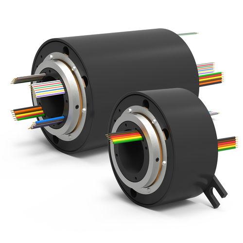 Schleifring zur Leistungs- und Signalübertragung / elektrisch / Hohlwelle / mit Goldkontakten