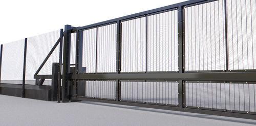 Schiebetor / Hochsicherheit / selbsttragend / hochresistenter Stahl