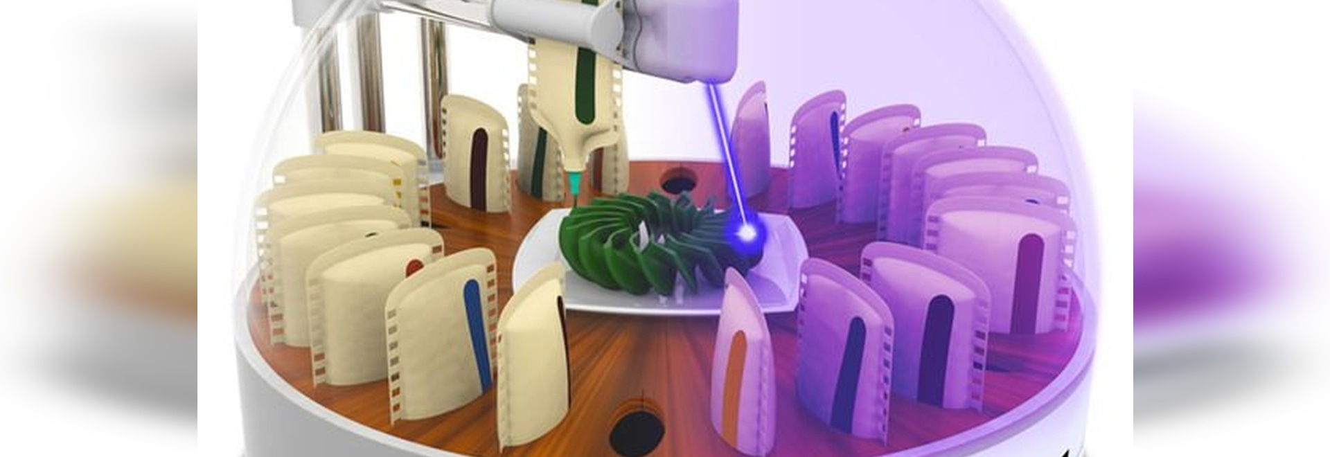 Nahrung des Drucken 3D: Labor stellt Drucker der Nahrung 3D her, der seine Drucke mit einem Laser kocht