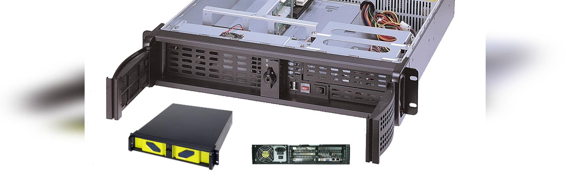 """Rackmount Fahrgestelle AICSYS Inc. 2U für SBC mit (1) 5,25"""" u. (2) 3,5"""" Antriebs-Buchten, 4 PCI-Schlitz. PICMG 1,0 oder 1,3 SHB-Rückwand stützt Stromversorgung der Größe PS/2"""