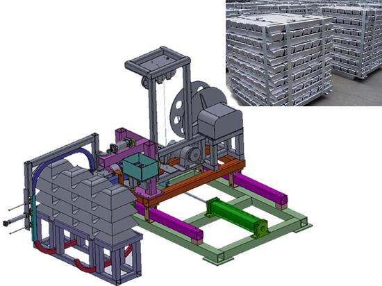 automatischer Barren, der durch Stahlumreifungsmaschine gurtet