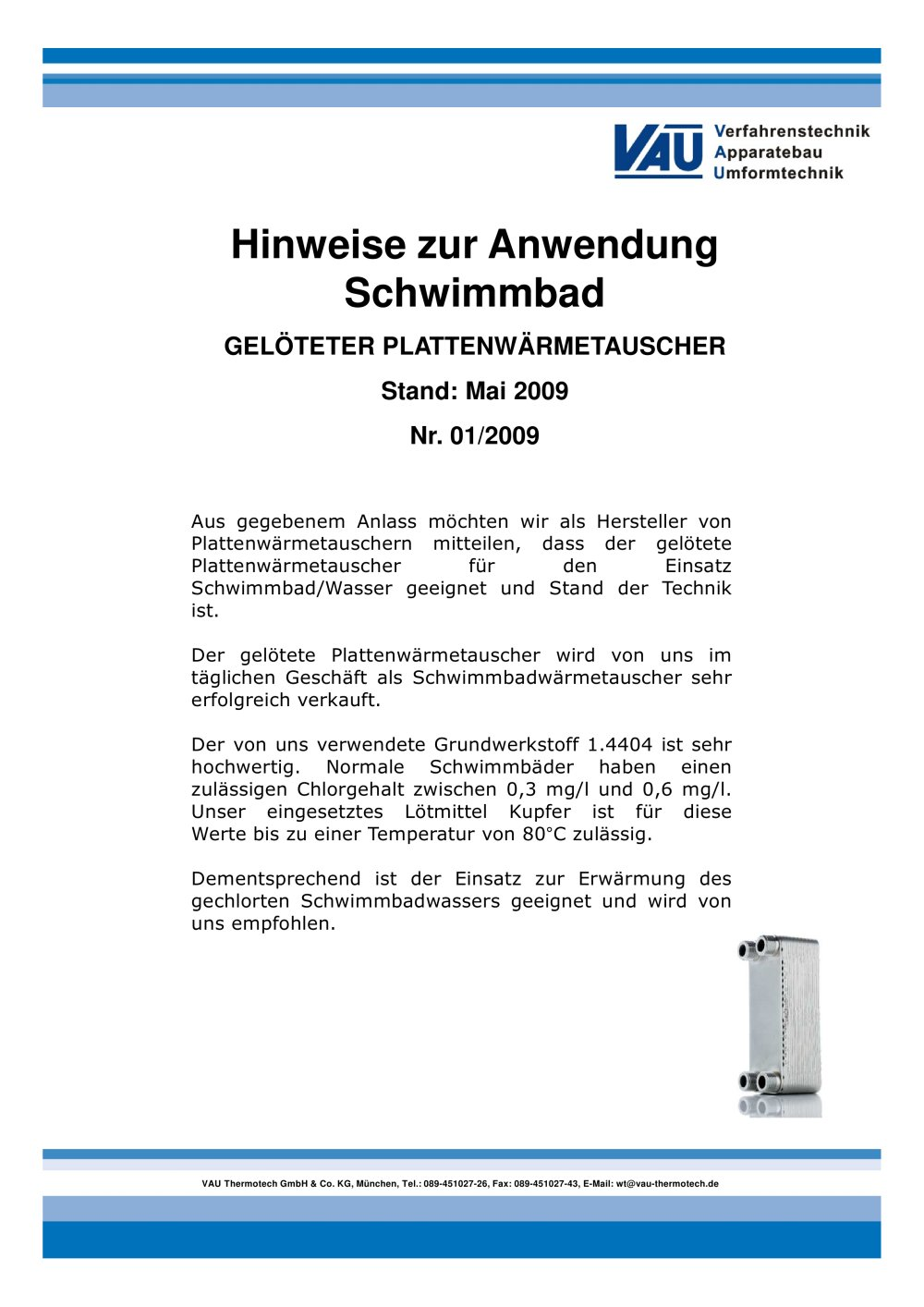 Hinweise zur Anwendung Schwimmbad - VAU Thermotech GmbH & Co. KG ...