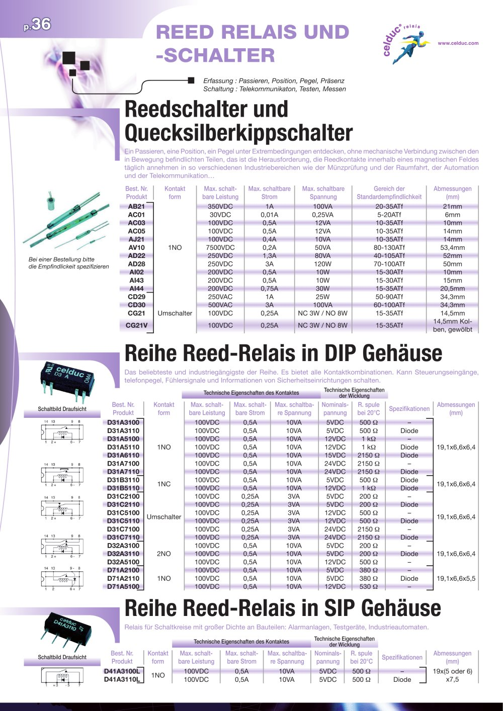 Reed-Relais und Reed-Schalter - celduc relais - PDF Katalog ...