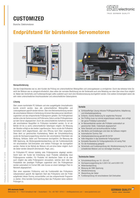 Prüfsystem für Servomotoren - SPS electronic - PDF Katalog ...