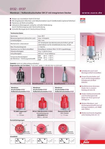 Membran/-Kolbendruckschalter SW 27 mit integriertem Stecker