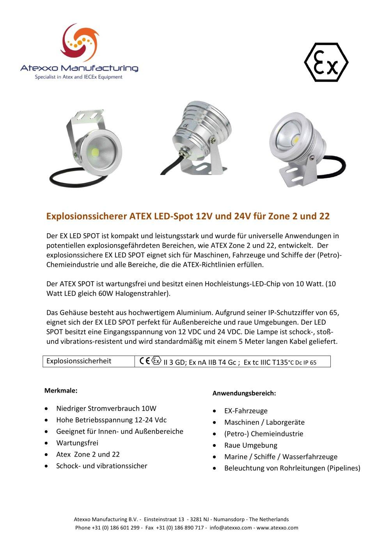 Explosionssicherer ATEX LED-Spot 12V und 24V für Zone 2 und 22 ...