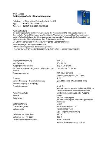 USV - Anlage Batteriegepufferte Stromversorgung