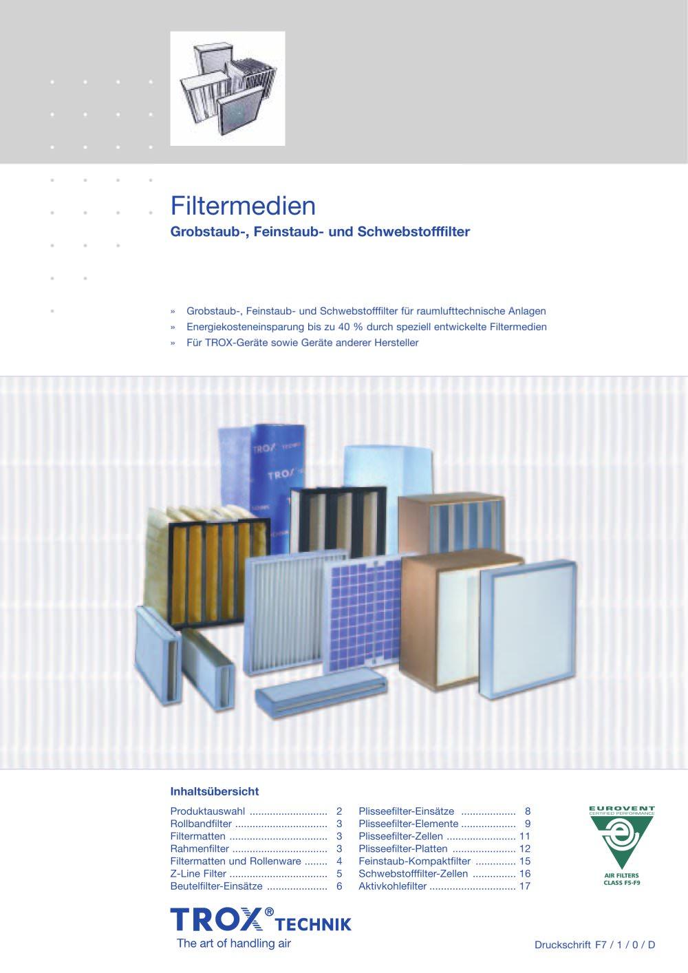 Filtermedien - TROX - PDF Katalog   technische Unterlagen   Prospekt