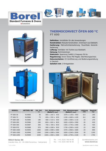 Thermoconvect Öfen 600°C - FT 600