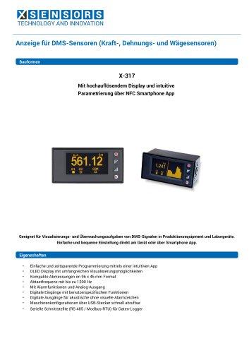 Anzeige für DMS-Sensoren (Kraft-, Dehnungs- und Wägesensoren)