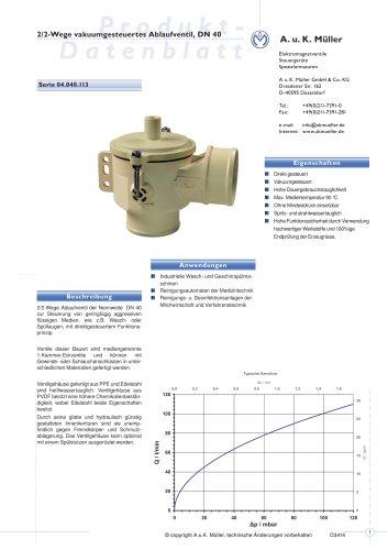 2/2-Wege vakuumgesteuertes Ablaufventil, DN 40