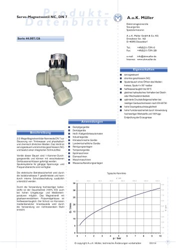 44.007.126 Servo-Magnetventil NC, DN 7