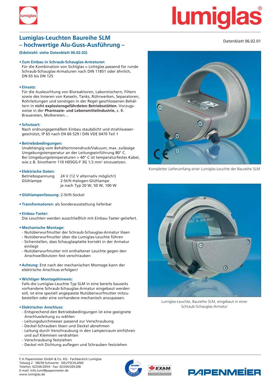 Lumiglas-Leuchte SLM - Papenmeier - Lumiglas Division - PDF Katalog ...