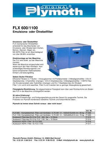 FLX 600/1100 Emulsions- oder Ölnebelfilter