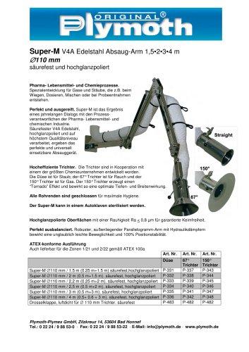 Super-M V4A Edelstahl Absaug-Arm 1,5 - 4 m D110 mm