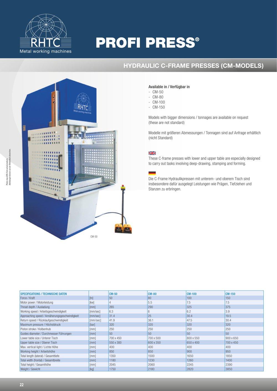 Hydraulische C-Rahmen Pressen (CM-Modelle) - RHTC BV - PDF Katalog ...