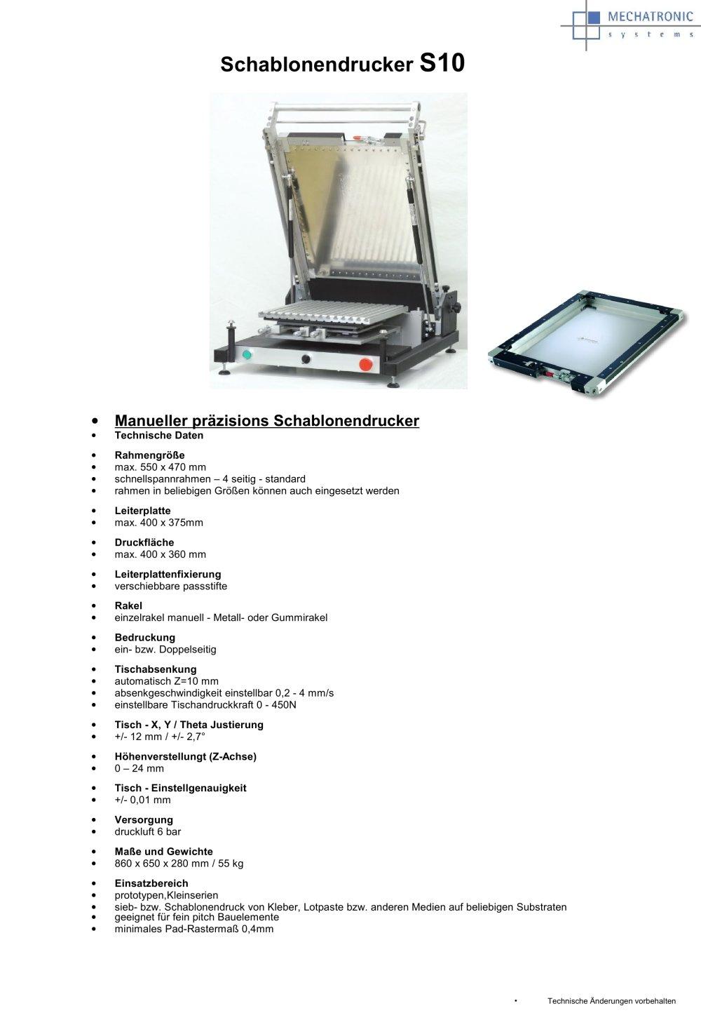 Sieb- und Schablonendrucker S10 - Mechatronic Systems - PDF Katalog ...
