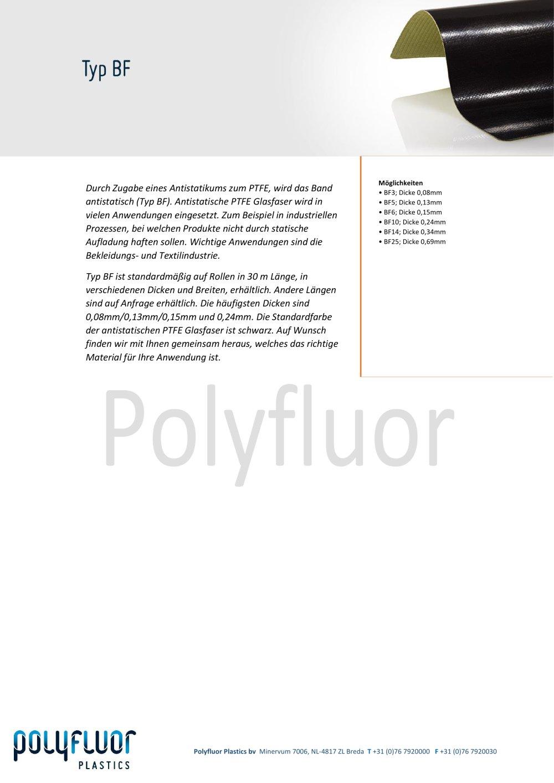 Datenblatt Glasfaser, typ BF - Polyfluor Plastics bv - PDF Katalog ...