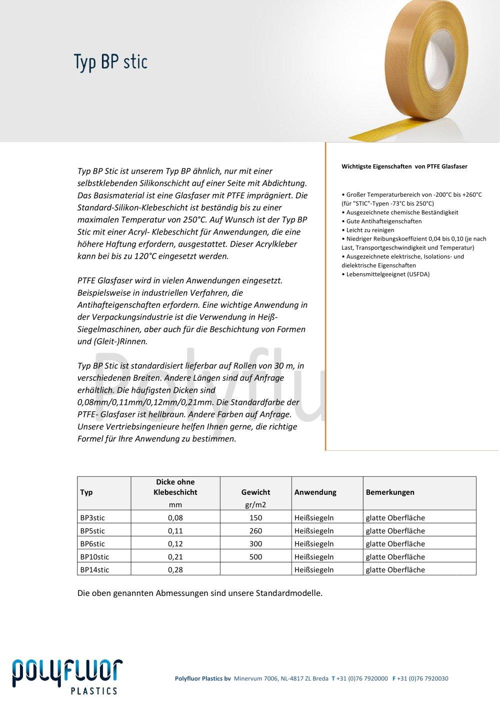 Datenblatt Glasfaser, typ BPstic - Polyfluor Plastics bv - PDF ...