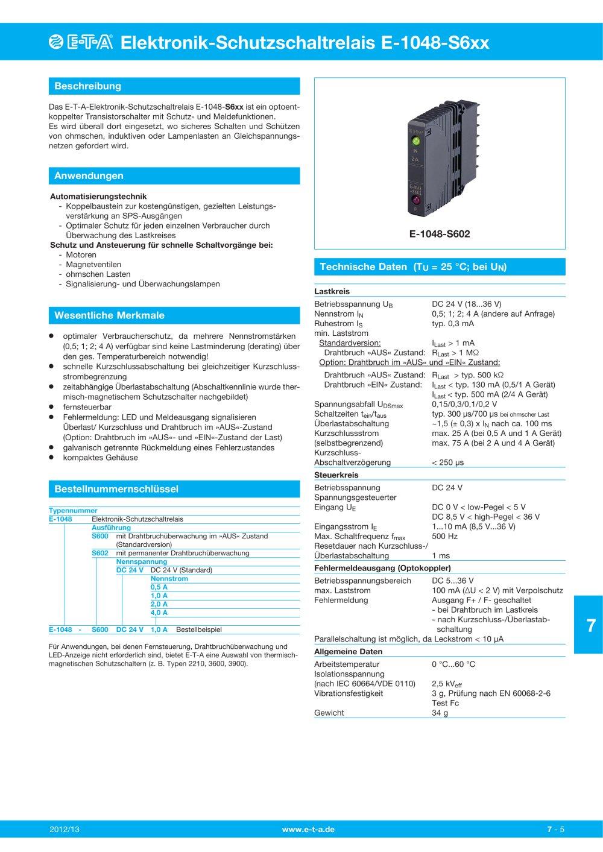 E-1048-S6xx - E-T-A - PDF Katalog | technische Unterlagen | Prospekt