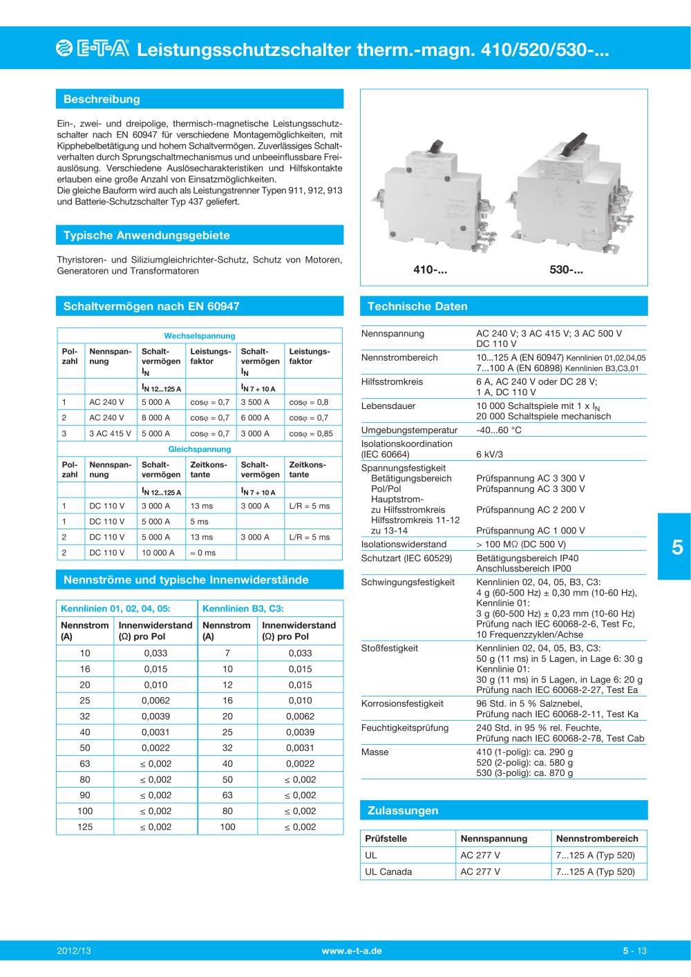Leistungsschutzschalter 410 - E-T-A - PDF Katalog   technische ...