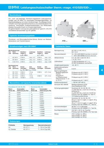 Leistungsschutzschalter therm.-magn. 410/520/530