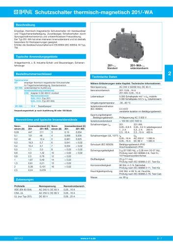 Schutzschalter thermisch-magnetisch 201/-WA