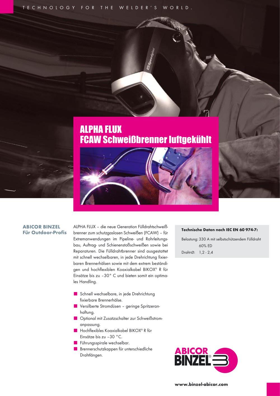 ALPHA FLUX Schweißbrenner luftgekühlt - BINZEL - PDF Katalog ...