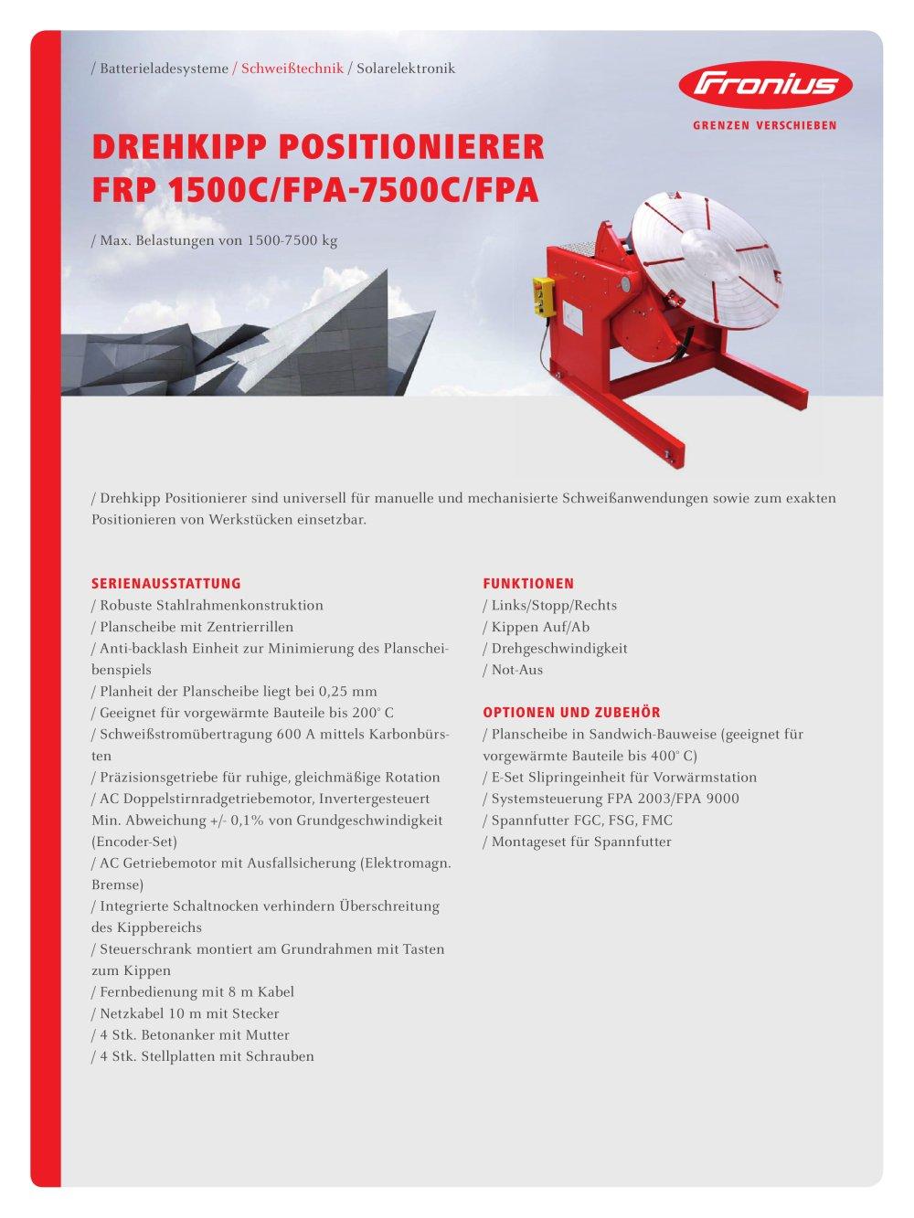 DREHKIPP POSITIONIERER FRP 1500C/FPA-7500C/FPA - FRONIUS - PDF ...