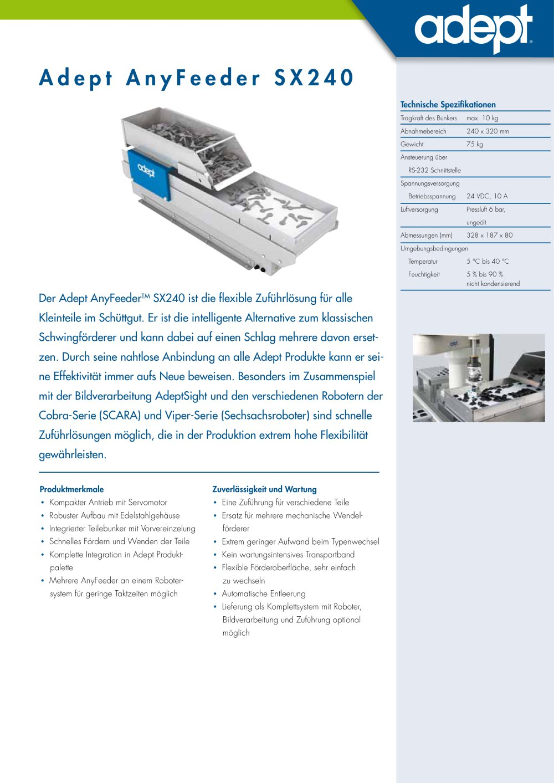 Adept AnyFeeder SX240 - Omron Electronics GmbH - PDF Katalog ...