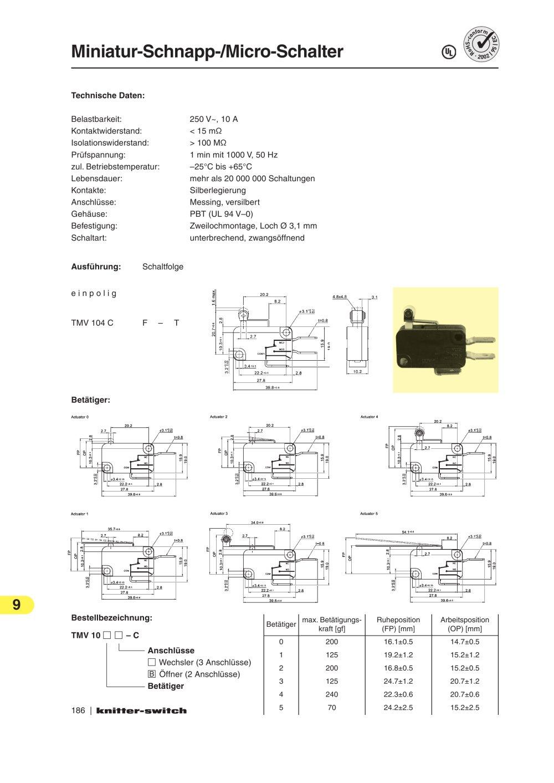Schnapp-Schalter / Micro-Schalter - KNITTER SWITCH - PDF Katalog ...