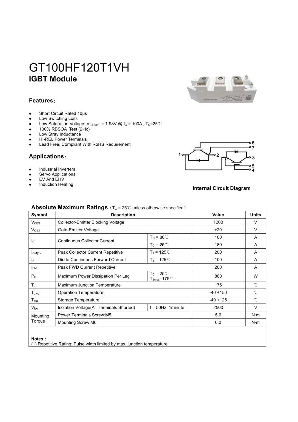 Igbt Circuit Diagram | Gt100hf120t1vh Igbt Module Rongtech Industry Shanghai Inc
