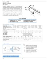 Series 240 Specs Linear (LVDT) Displacement Transducers