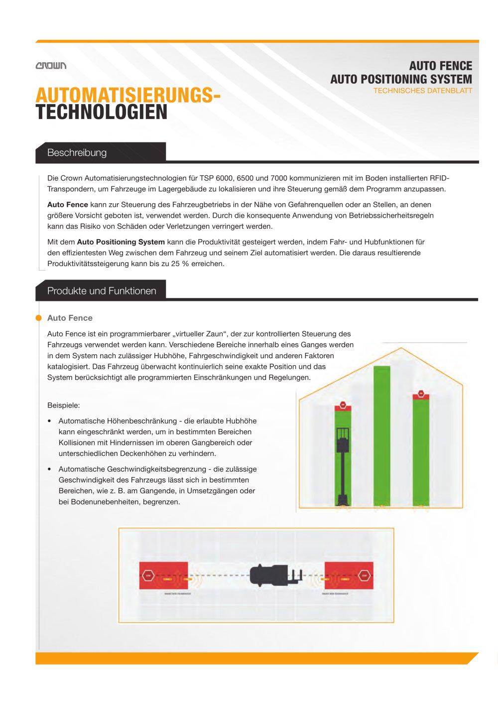 Technisches Datenblatt Automatisierungstechnologien Crown Pdf