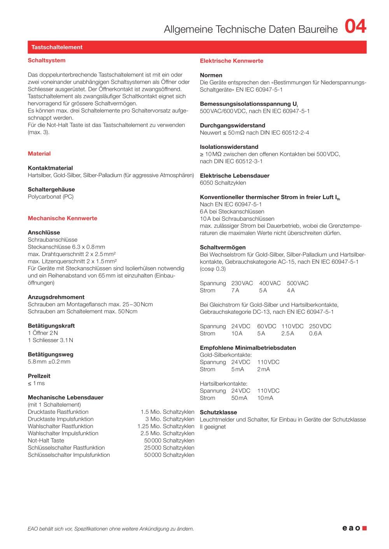 Daten Baureihe 04 - EAO France - PDF Katalog | technische Unterlagen ...