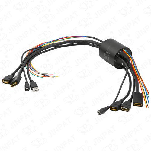 Schleifring zur Leistungs- und Signalübertragung / USB / HDMI / Durchgangsbohrung