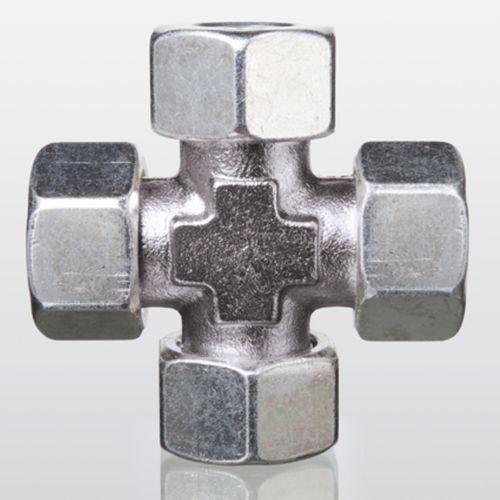 Schraub-Verschraubung / Schneidring / Kreuz / hydraulisch
