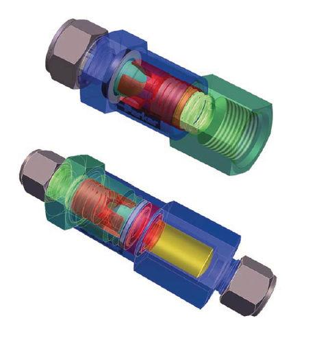 Kugelrückschlagventil / mit Ventil / für Gas