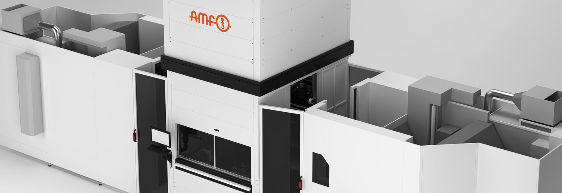 Durch die modulare und flexible Bauweise unserer AMF-Beladeeinheit kann die Palettierung der Werkzeugmaschine auf zwei Seiten erfolgen.