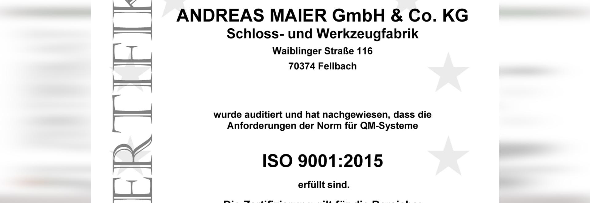 Erfolgreiche Rezertifizierung von AMF nach ISO 9001:2015