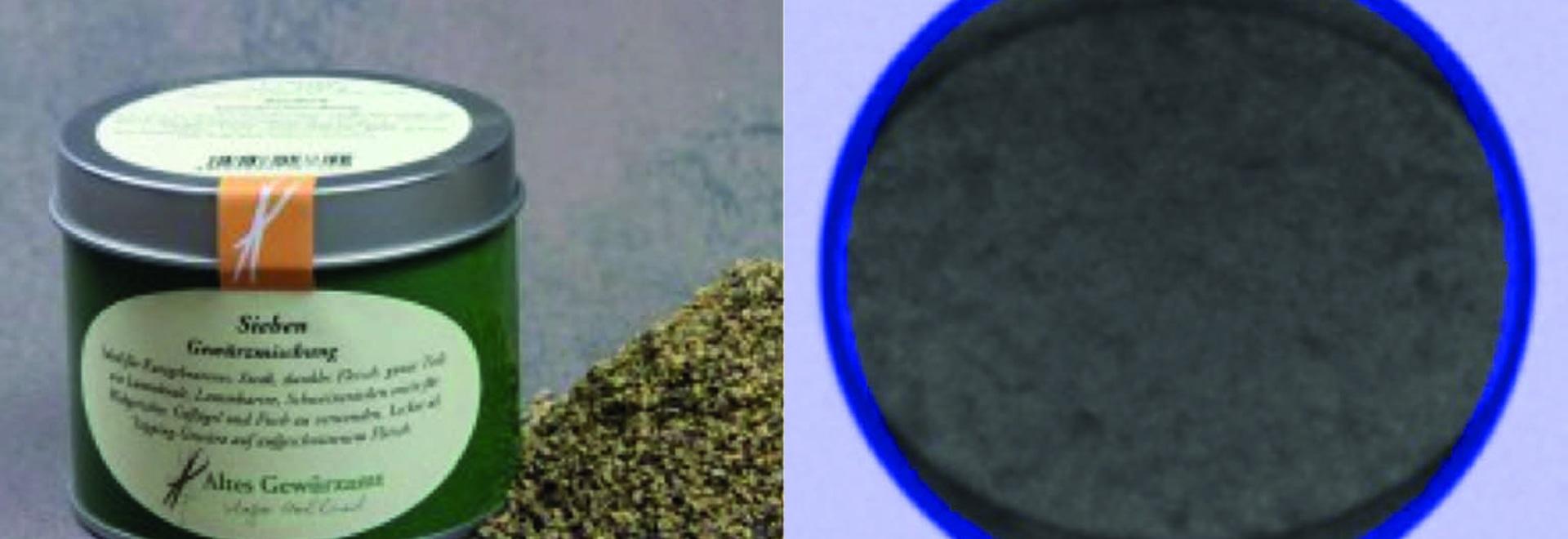 """Gewürzdose Original Foto / Röntgenbild mit Funktion Randfilter: es wird in den gefilterten, """"blauen Bereichen"""" mit niedrigerer Empfindlichkeit inspiziert, dafür in den anderen Bereichen mit höherer..."""