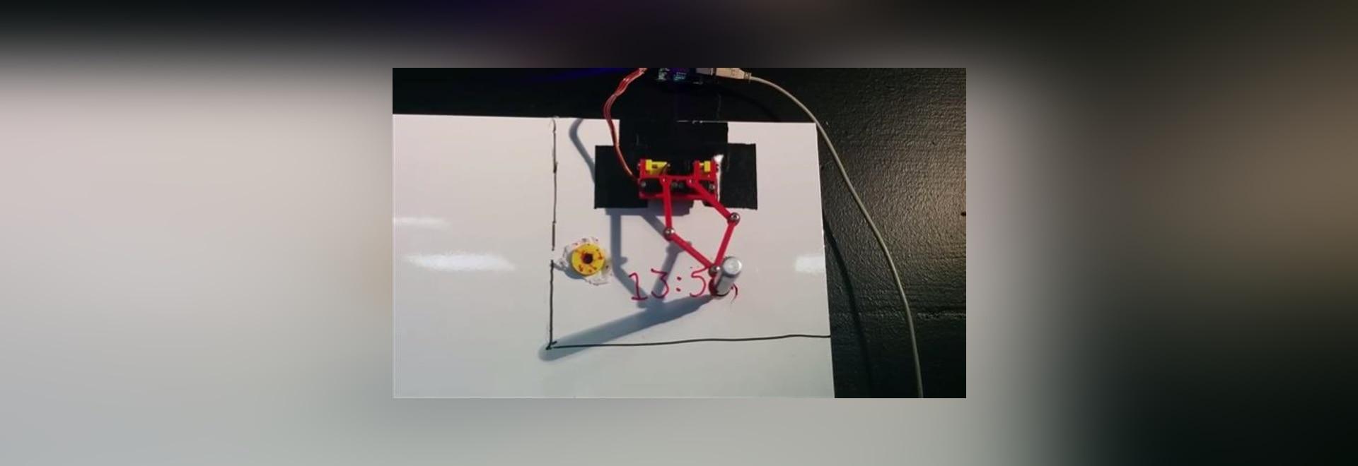 Stellen Sie einen 3D gedruckten whiteboard Taktgeber her, der automatisch die aktuelle Uhrzeit schreibt