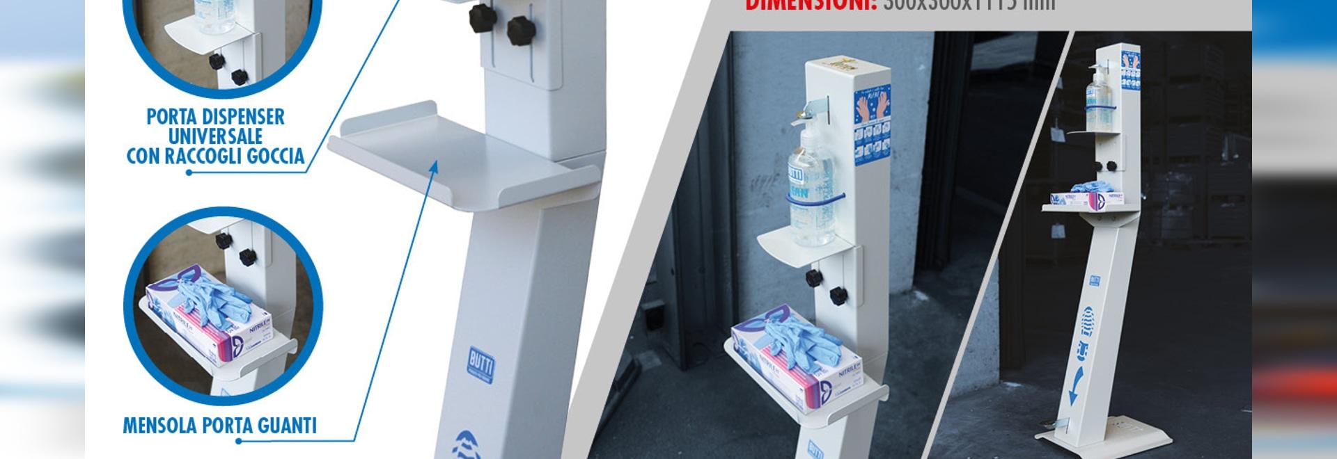 Totem mit Pedal - Struktur für Desinfektionsgel
