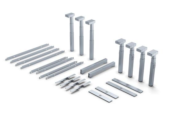 Arbeitsplätze im Baukastensystem: Mit diesen Komponenten lassen sich die beschriebenen Tischuntergestelle bauen