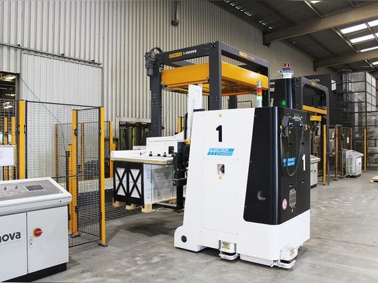 Palettenzuführung zur Verpackungslinie durch AGV