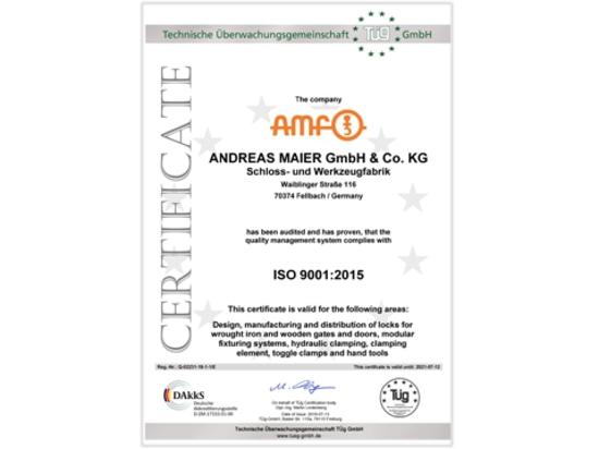 Erfolgreicher Recertification von AMF entsprechend ISO-9001:2015
