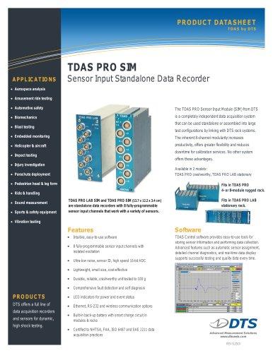 TDAS PRO SIM Standalone, Sensor Input Data Recorder